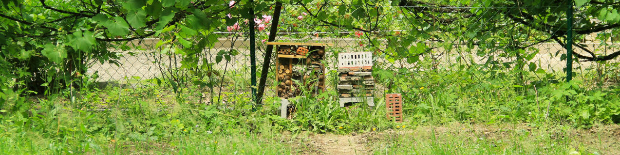 Selbstgebautes Insektenhotel im Garten